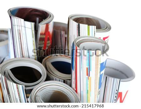 Magazines isolated on white - stock photo