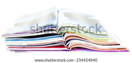 Magazines isolated on white - stock photo