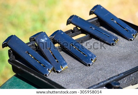 Magazines of a pistol - stock photo