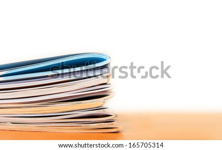 Magazines, paper brochures in office, background - stock photo