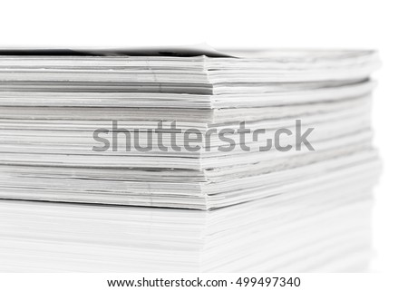 magazines up close shot on white background