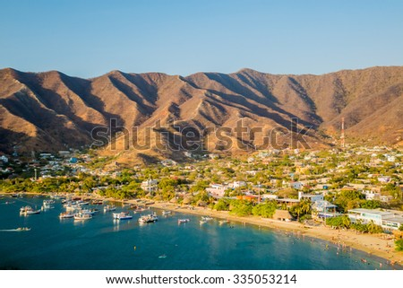 MAGDALENA, COLOMBIA - FEBRUARY 20, 2015: Beautiful high angle view of boats in Taganga beach in Santa Marta, Colombia - stock photo