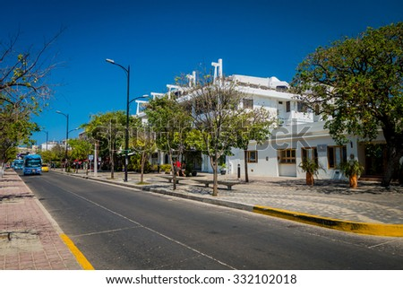 MAGDALENA, COLOMBIA - FEBRUARY 20, 2015: Streets in Santa Marta, popular caribbean destination in northern Colombia.