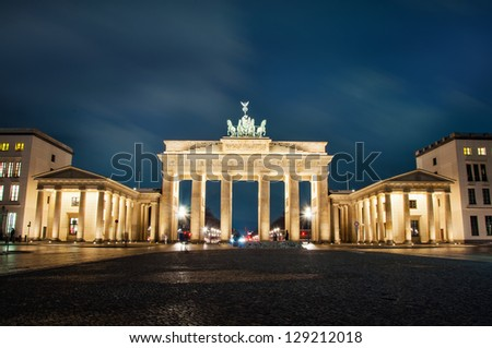 Magdeburg gates at night in Berlin - stock photo