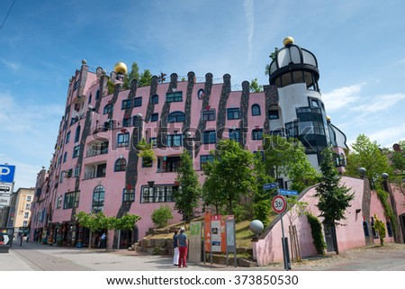 MAGDEBURG, GERMANY - JUNE 07, 2015: Hundertwasser House (Green Citadel) - one of the most famous landmarks in Magdeburg, Germany