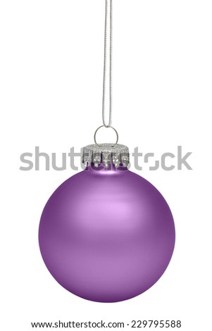 Magenta christmas bauble isolated on white background with clipping path - stock photo