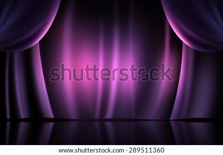 Magenta curtain on stage - stock photo