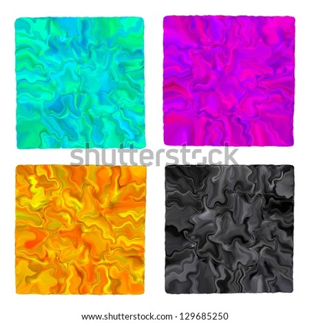 Magenta, cyan, yellow and black liquid watecolor paints isolated. CMYK colors - stock photo