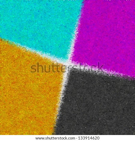 Magenta, cyan, yellow and black liquid watecolor paints isolated. CMYK colors 2 - stock photo