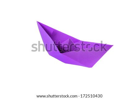Magenta origami paper boat isolated on white