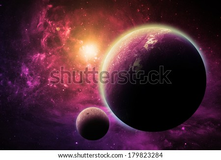 Magenta Planet and Moon - Elements of this Image Furnished by NASA - stock photo