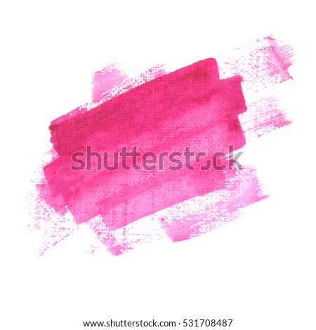 Magenta watercolor stain. Pink watercolor brush stroke. Pink smear.