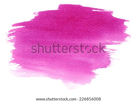Magenta watercolor stain with watercolor paint blotch and brush strokes  - stock photo