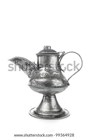 magic aladin lamp on a white background: 3 wishes free - stock photo