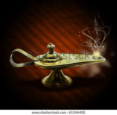 magic aladin lamp with magic smoke and sparkles on a brown background: 3 wishes free - stock photo