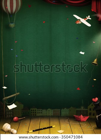 Magic background with fantastic theatrical objects.  - stock photo