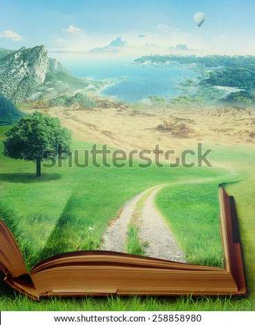 magic book and eco concept - stock photo