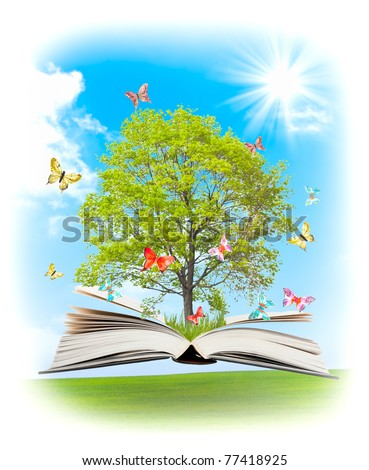 Magic book with a green tree and the rays of light on the background of nature. Symbol of knowledge. - stock photo