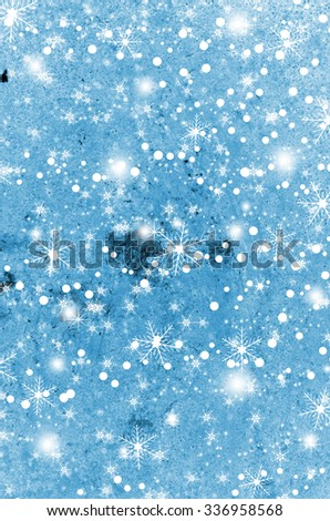 Magic christmas background with snowflakes in winter - stock photo