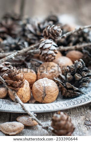 Magic Christmas Tray with Pine cones, Walnuts, Almonds, Nuts on Wooden Background, decorated by snow - stock photo