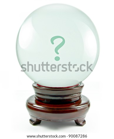 magic crystal ball with a question mark on it isolated on a white background - stock photo