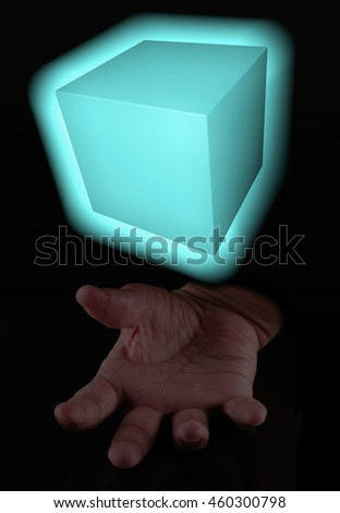 Magic cube over male hand, vertical image, 3d rendering (cube) - stock photo