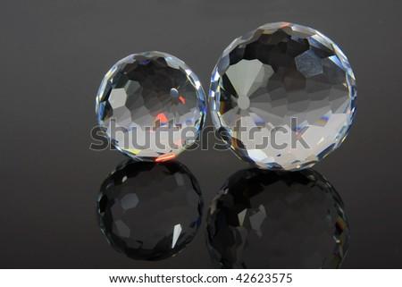Magic cut crystal spheres. - stock photo