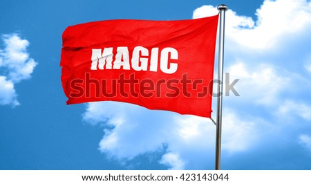 magic, 3D rendering, a red waving flag - stock photo