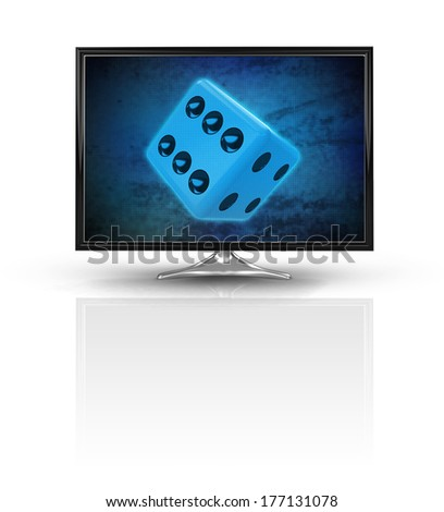 magic dice on blue new modern screen isolated on white illustration