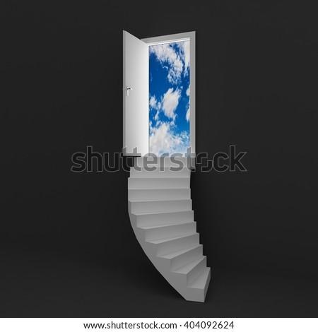 magic door , landscape behind the opening door 3D  - stock photo