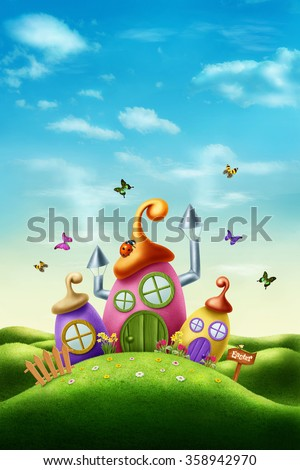 Magic easter house in the meadow - stock photo