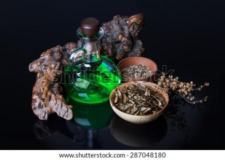 magic elixir, herbs - stock photo