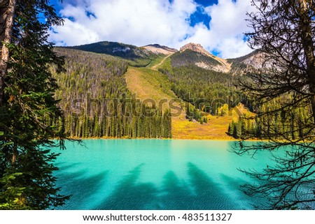 Magic Emerald Lake in the Canadian Rockies. The emerald-green lake surrounded by a pine forest