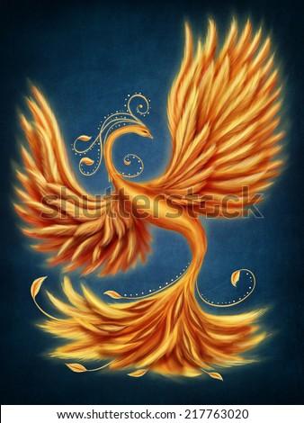 Magic firebird on a blue background - stock photo
