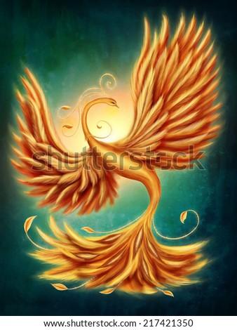 Magic firebird on a green background - stock photo