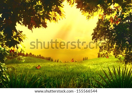 Magic Forest. Abstract environmental backgrounds for your design - stock photo