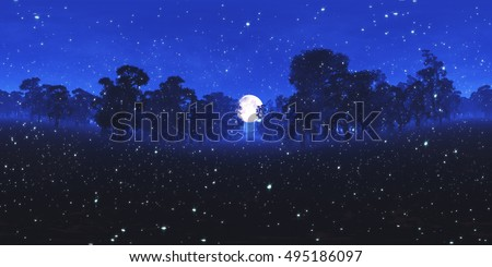 Magic Forest at Night under Fullmoon with Fireflies VR360 3D Illustration