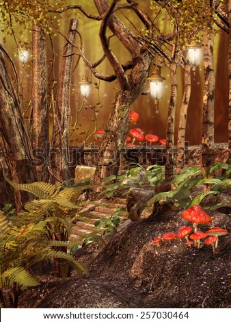 Magic forest with hanging lamps and red mushrooms - stock photo