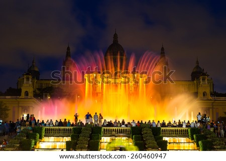 Magic Fountain light show at night next to National museum in Barcelona, Spain