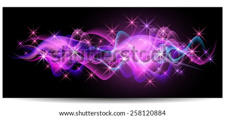 Magic glowing background with neon smoke, shining stars