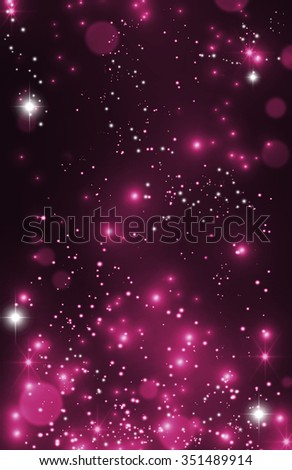 Magic Happy Holidays lights sparkling pixie dust background with stardust and shining stars. Purple pink love fairy tale postcard concept. Defocused dark bokeh lights wallpaper. Valentine's Day Love. - stock photo