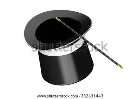 magic hat and magic wand isolated on white background
