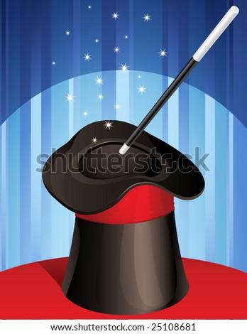 magic hat and magic wand - raster version - stock photo