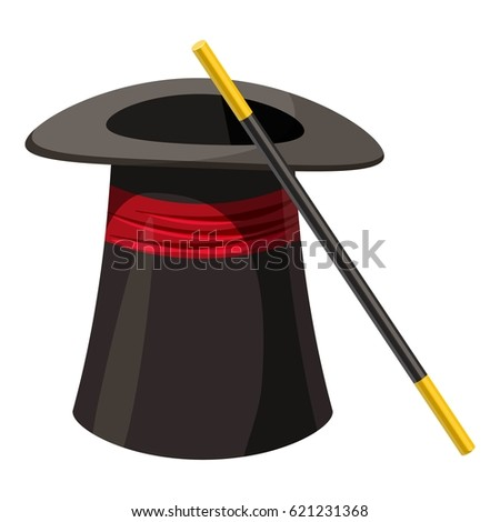 Magic hat and wand icon. Cartoon illustration of magic hat and wand  icon for web