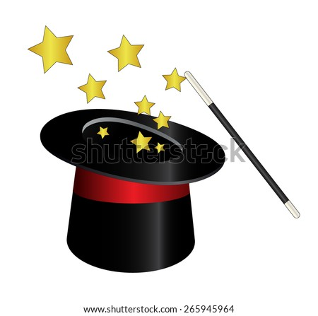 magic hat with wand and stars - stock photo