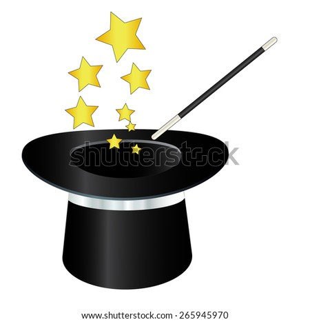 magic hat with wand and stars
