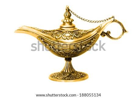 Magic lamp of Aladdin isolated - stock photo