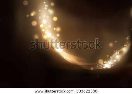 magic light wave abstract illustration, festive glitter background - stock photo