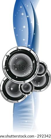 Magic Loudspeakers and stars. (Version vector 13054180) - stock photo