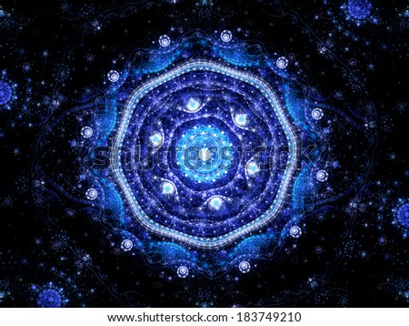 Magic mandala in space, computer generated fractal object